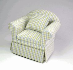 Ashley yellow & blue check chair-miniature
