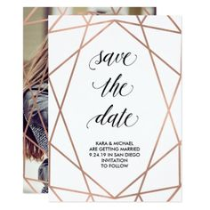 #modern - #Faux Rose Gold Geometric Save the Date | Photo Card