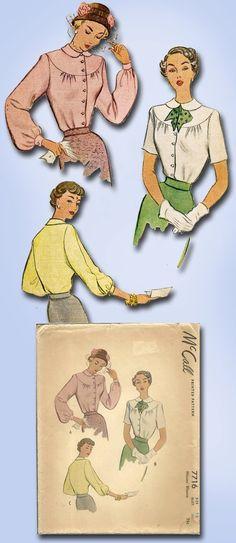 1940s Original Lovely Unused McCall Blouse Pattern Sz 30 B | eBay