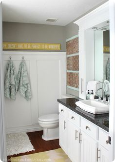 Small Master Bathroom Remodel with Stylish, Affordable Countertop Storage! #thehouseofsmiths #bathroom #decor
