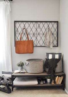 Click the image to shop the look of Ashley's industrial-farmhouse entryway.