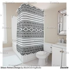 Shop Ethnic Pattern Design Shower Curtain created by AdultColoringBooks. Durable, Full Color Printing, Powder Room, Shower Curtain, Custom Shower, Printed Shower Curtain, Curtains, Inspiration, Vintage Shower Curtains