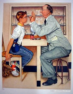 Exquisite Norman Rockwell Original rare Gold EDITION -Signed Lithograph - Optometrist Ltd Special Edition . Norman Rockwell Prints, Norman Rockwell Paintings, Peintures Norman Rockwell, Funny Art, Famous Artists, American Artists, Illustrations Posters, Vintage Art, Illustration Art