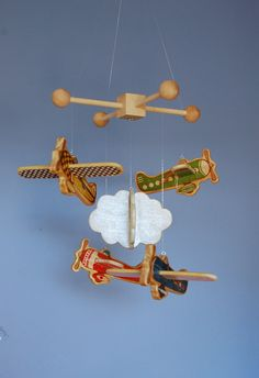 Baby Mobile - Baby Crib Mobile - Wooden Vintage Airplanes - Airplane Nursery.