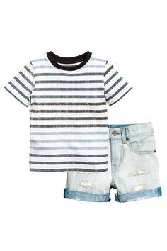 T-shirt en denim short - Bleek denimblauw - KINDEREN   H&M NL