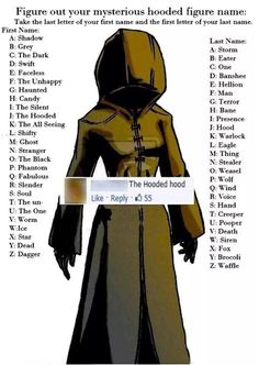 What is your mysterious hood figure name?  // funny pictures - funny photos - funny images - funny pics - funny quotes - #lol #humor #funnypictures