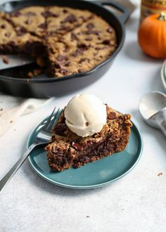 Paleo Deep Dish Chocolate Chip Pumpkin Cookie Skillet.