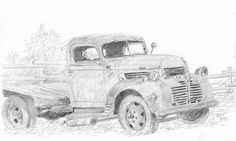 """""""Old Workhorse"""" by David King. I sketched this old flatbed Dodge Truck at Wheeler Farm from life in pencil, it's obviously seen better days. art, drawing, graphite, vintage, antique, #davidkingstudio"""