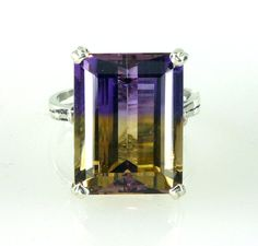 Natural Bolivian EmeraldCut Ametrine Ring. 925 by NaturesFireGems, $186.77
