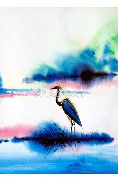 Watercolor Landscape with Crane Bird