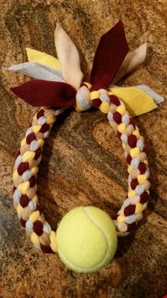 Diy dog toy - fleece and tennis ball