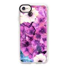 Modern hand painted pink lavender purple watercolor floral - iPhone 7... ($40) ❤ liked on Polyvore featuring accessories, tech accessories, iphone case, apple iphone case, iphone cases, purple iphone case, clear iphone case and floral iphone case