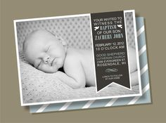 Side Ribbon - Baptism Invitation. $15.00, via Etsy.