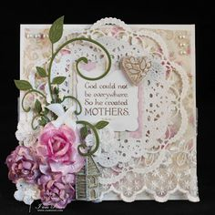 doily & flowers mother's day card