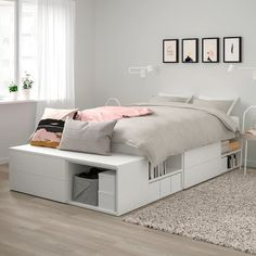 Buy IKEA PLATSA Bed Frame With 4 Drawers White, Fonnes. PLATSA bed covers your sleep and storage needs helping you create your own oasis in the smallest of places. Together with PLATSA system you can have both a space for privacy and a home One Bedroom Apartment, Small Room Bedroom, Room Ideas Bedroom, Bedroom Decor, Space Saving Bedroom Furniture, Furniture For Small Bedrooms, Bed Room, Space Saving Beds, Warm Bedroom