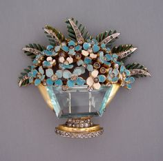 "DEROSA pale blue basket fur clip with enameled forget-me-nots, green leaves and clear rhinestone accents,  2-3/4"" by 2-1/3"""