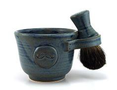 Mens Shaving Set, Blue Mustache Shave Mug, Black Badger Hair Shave Brush and Shave Soap, Shave Set, Pottery Gifts for Men, Best Man Groom