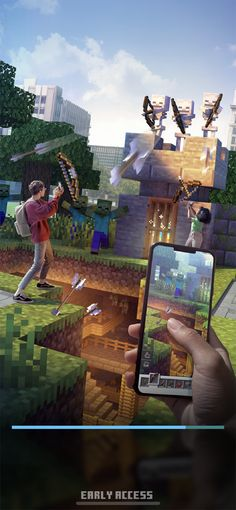 Minecraft Earth na App Store Minecraft App, Minecraft Earth, How To Play Minecraft, Pet Wolf, Health Bar, Minecraft Creations, The Real World, Augmented Reality, Movies