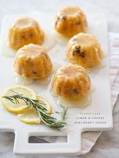 bite size poppers: Lemon and Cherry Mini Bundt Cakes | foodiecrush