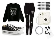 """""""Taking Pictures & Making Memories"""" by ticci-toby ❤ liked on Polyvore featuring Marc by Marc Jacobs, Converse, The Ragged Priest and Sharpie"""