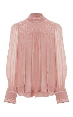 Medium isabel marant pink maeva mock neck blouse