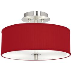 """China Red Textured Silk 14"""" Wide Ceiling Light ($150) ❤ liked on Polyvore featuring home, lighting, ceiling lights, red, silk lamp, flushmount ceiling lights, possini euro design lighting, flushmount lighting and silk shade"""