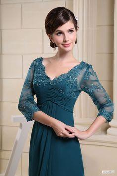 barn wedding V-neck Lace Overlay Top Chiffon Dress $158.98