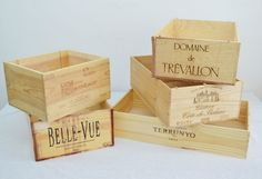 Set of Five (5) Wooden Wine Crates - Sommelier's Choice