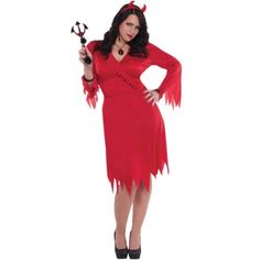 Plus size Red Hot Devil costume. The perfect classic angels and demons halloween costume Demon Halloween Costume, Soirée Halloween, Devil Costume, Classic Rock And Roll, Fancy Dress, Fashion Brands, High Neck Dress, Dresses For Work, Plus Size