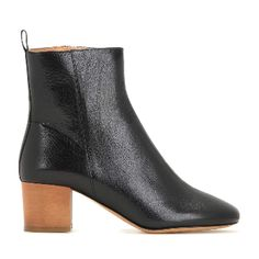 Isabel Marant Étoile Drew Ankle Boots: Isabel Marant, Étoile's Drew ankle boots. Smooth polished black leather, warm-brown heel, zipped side, round toe.