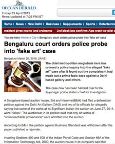 Bengaluru court orders police probe into 'fake art' case - Deccan Herald, 20th March 2015