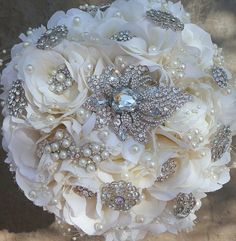 SPECIAL , BROOCH BOUQUET - Soft Ivory with a Vintage Style, Stunning Gem Bouquet