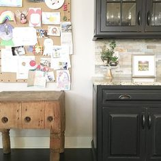 """Something old, something new...you know I love to mix! Our kitchen cabinets are 2 years old. This butcher block table dates back to the late 1800s! I found it buried in the back of an antique mall in Virginia marked """"not for sale."""" After days of begging (literally, non-stop phone calls), I finally convinced the owner to sell it to me. The dents, the dings, the crooked leg...oh the stories they could tell, right? On another note, the kids have been kicking it into overdrive in the crafting…"""