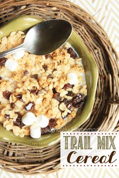 Trail Mix Cereal - A bowl of Rice Krispies® gets a trail mix theme with granola, raisins, mini marshmallows, chocolate chips, and chopped walnuts added in - the perfect back to school breakfast!