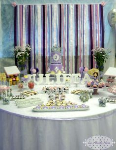 Sofia the First Birthday Party dessert table!  See more party planning ideas at CatchMyParty.com!