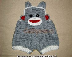 Baby Sock Monkey Overall shorties, Buttons at legs for easy change -Tutorial Crochet PDF Pattern