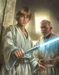 Luke Skywalker and Obi Wan Kenobi - Art by Chris Trevas