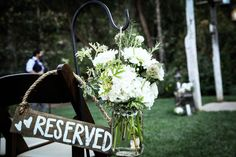 Flowers + reserved sign