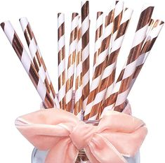 Shining Rose Gold Stripes Paper Drinking Straws For Wedding And Birthdays 100 Pack, Rose Paper Straws For Party Table Decoration Festival Events Festivals, Party Table Decorations, Gold Stripes, Paper Straws, Gift Certificates, Initials, Birthday Parties, Birthdays, Packing