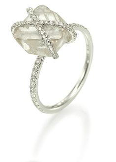 5.12ct natural rough diamond engagement ring with micro pave diamond accents