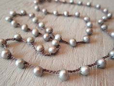 crocheted necklace with pearls