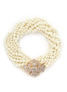 KENNETH JAY LANE Crystal pavé floral clasp faux pearl necklace