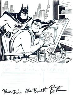 WB animation sketch of Batman and Superman - by Bruce Timm Comic Book Artists, Comic Book Characters, Comic Artist, Comic Character, Comic Books Art, Character Design, Comic Book Style Art, Bruce Timm, Batman Et Superman