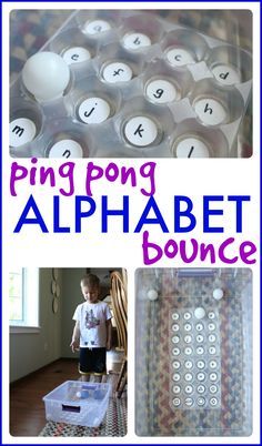 Ping Pong Alphabet Bounce game using ping pong balls and food container. (Could use egg carton instead! Alphabet Games, Learning The Alphabet, Preschool Learning, Teaching Kids, Teaching Resources, Letter Games, Preschool Class, Alphabet Letters, Learning Spanish