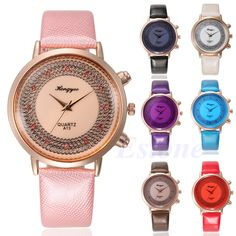 Luxury Women Stainless Steel Leather Stunning Sport Crystal Dial Quartz Watch #Unbranded #Luxury