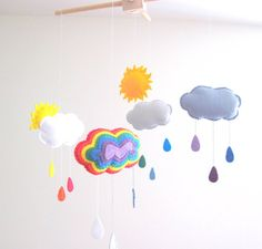 Rainbow Felt Mobile Wool Felt Baby Mobile for by GracesFavours