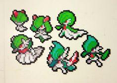 Ralts | Kirlia | Gardevoir | Mega Gardevoir | Gallade | Mega Gallade | Pokemon perler beads by MIZGVUSdesigns