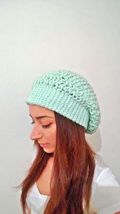 Mint Crochet Slouchy Hat  Slouchy Beanie  Hand by CoruhHandicraft, $25.00