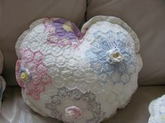 Another vintage pillow made from an old quilt.