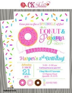 64 best party invitation ideas images on pinterest in 2018 donuts and pajamas sprinkle fun birthday invitation baby shower invite donut birthday party filmwisefo